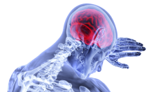A blue x-ray style image of a person from the shoulders up. They are resting their head on their arm, and their brain is highlighted in red.