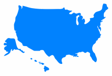 A blue outline map of the U.S., including Alaska and Hawaii