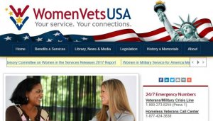 A screenshot of the homepage of the WomenVetsUSA website homepage, featuring their logo.