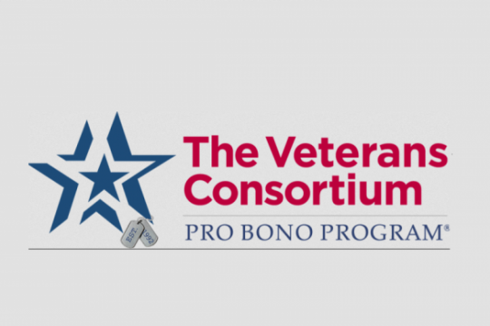 Veterans Consortium Pro Bono Program Logo - a blue star and red text on a gray background