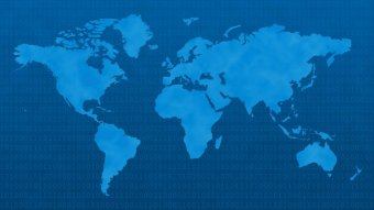 A blue tinted simplfied continent outline map of the world